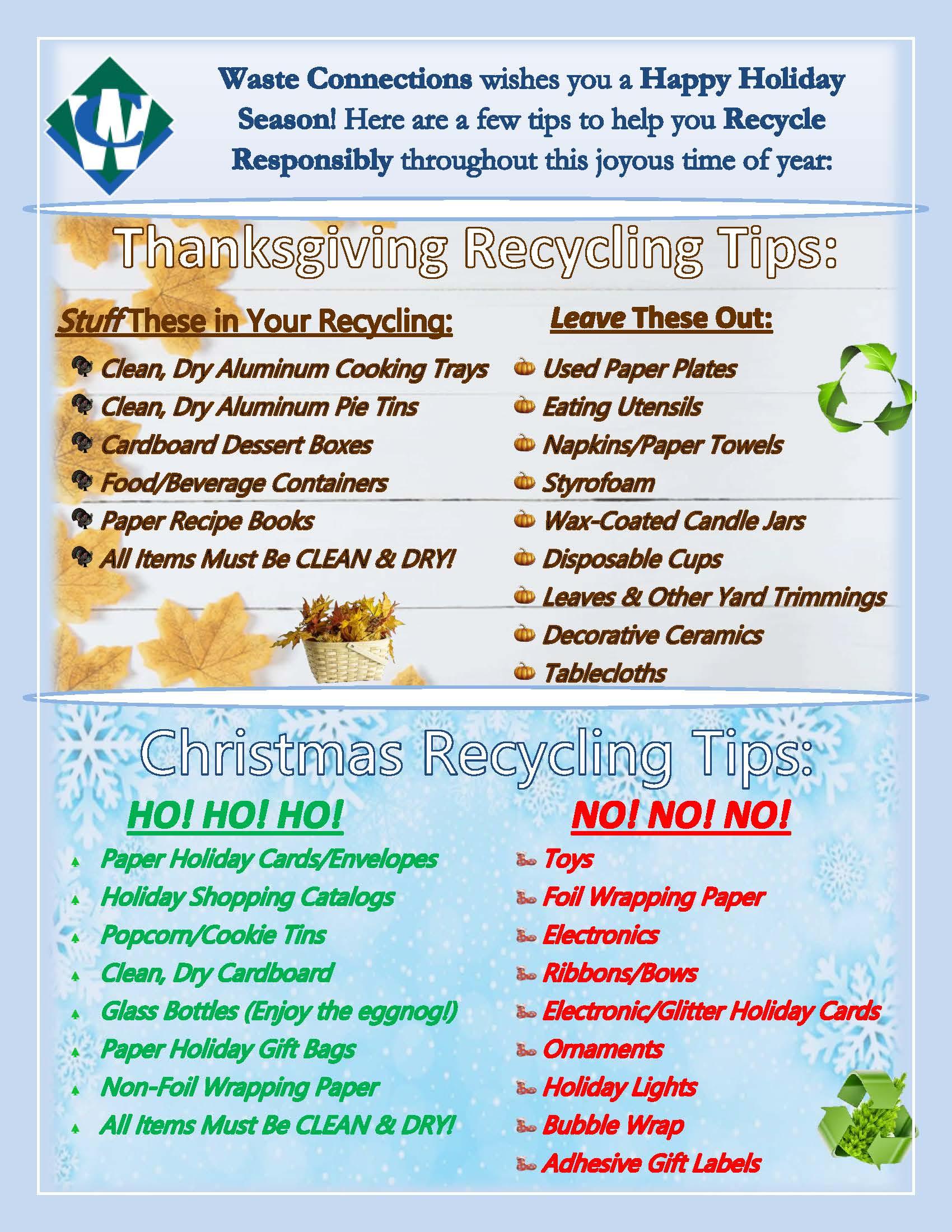 Waste Connections Holiday Recycling Guidance