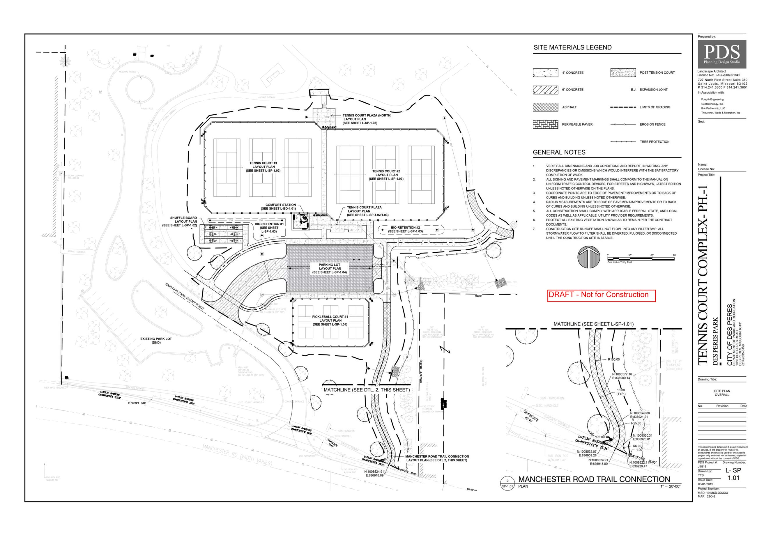 2019-03-02 Des Peres Park Tennis Court Project Preliminary Construction Documents